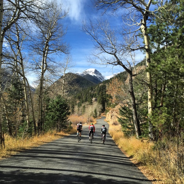 A trio from Estes Park pedals toward the Old Fall River Road in Rocky Mountain National Park.