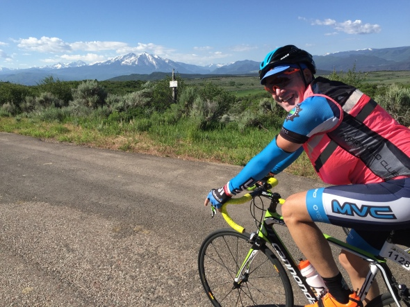 Donald Lewis leads up the climbs on the way to Aspen