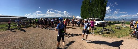 Riders roll into the Missouri Heights aid station on the first day of Ride the Rockies.