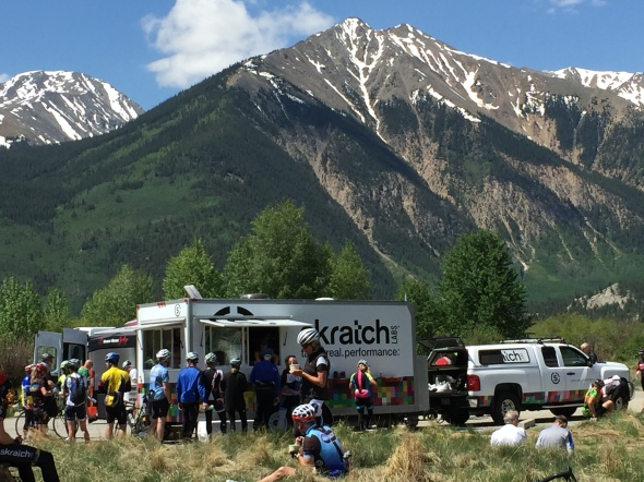 "View of the Scratch Labs food truck with the ""Backbone of the Rockies"" looming behind."