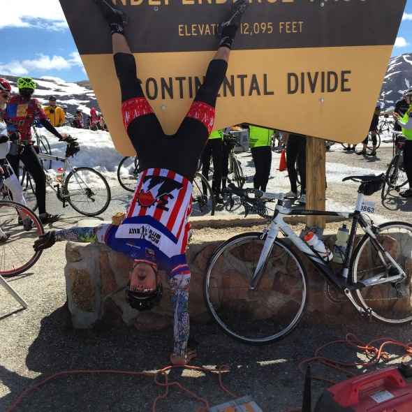The author shows off at the top of Independence Pass.