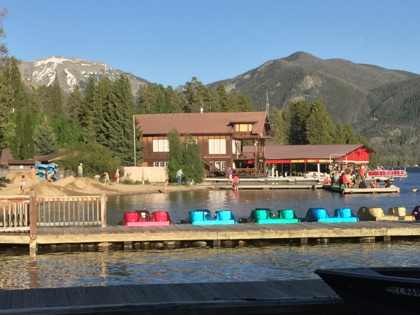 Paddle boats invite visitors to bob across the lake.
