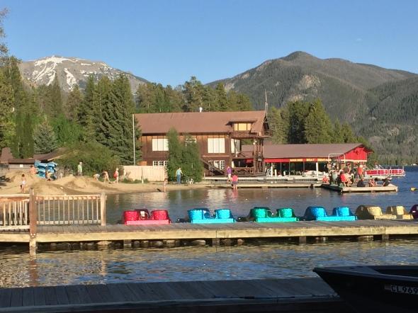 Paddle boats invite visitors to bob across the lake.