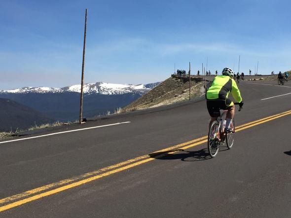 A rider climbs toward Medicine Bow Curve on Trail Ridge Road.